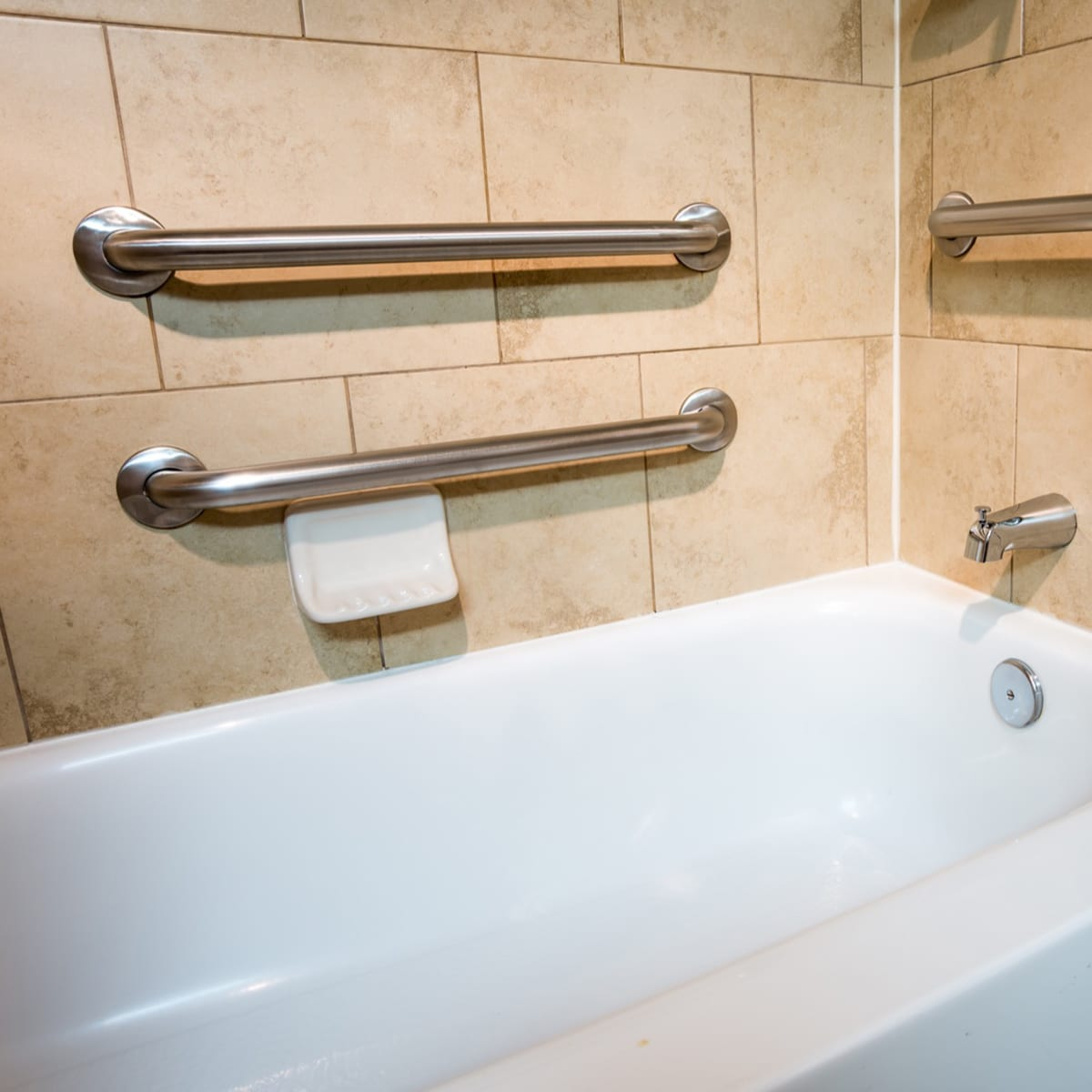 Bathtub with Safety Grab Bars