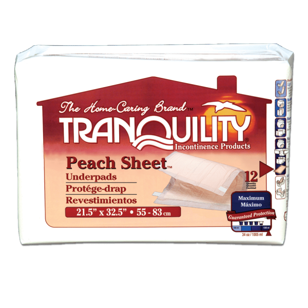 Tranquility Peach Sheet Underpads - 21.5 x 32.5 (2074) Package