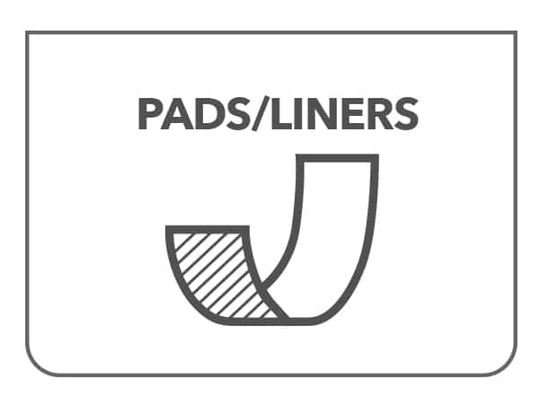 Pads Liners – Worn in Regular Underwear