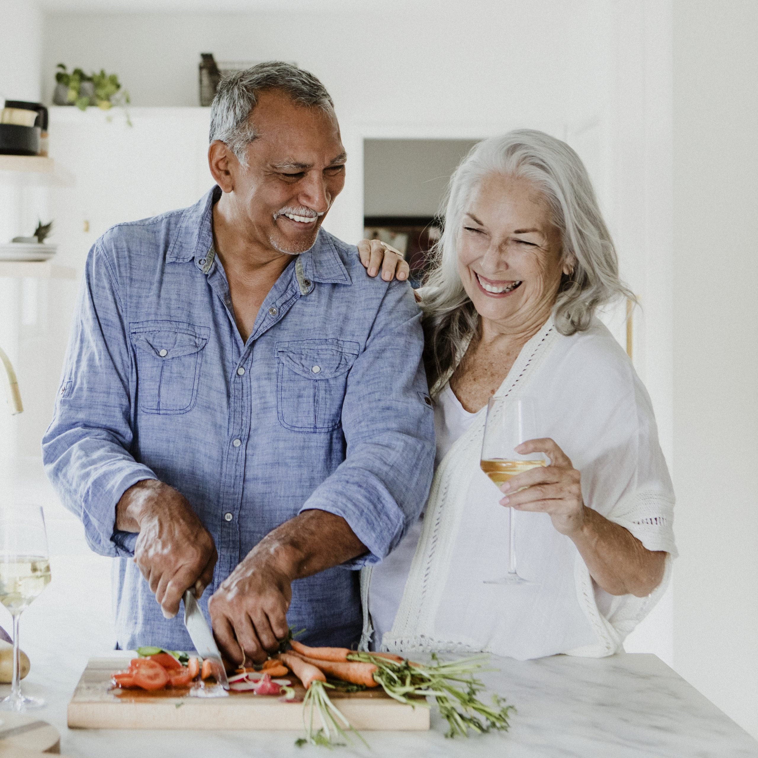 couple cooking in a kitchen