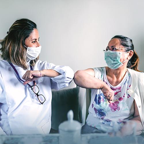 Elbow-bumping nurses