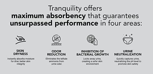 Tranquility offers unsurpassed performance in skin dryness, odor reduction, inhibition of bacteria growth, and urine neutralization.