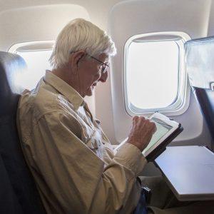 Senior Man on Airplane